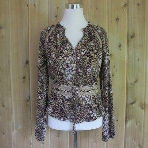 American Rag Cheetah Long Sleeve Corset Blouse M